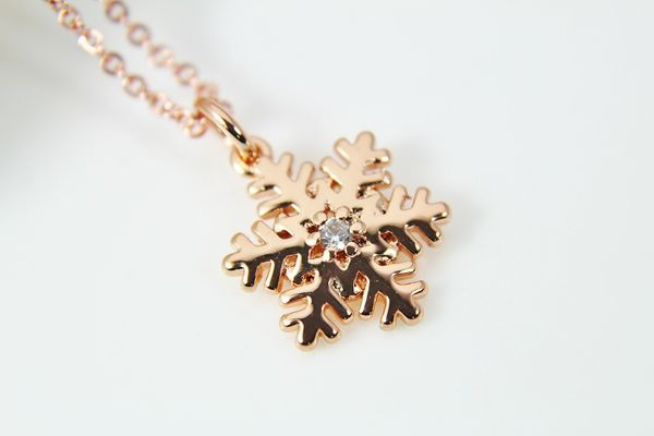 Rose Gold Snowflake Necklace, CZ Diamond Jewelry, Dainty Delicate Necklace, Personalized Gift
