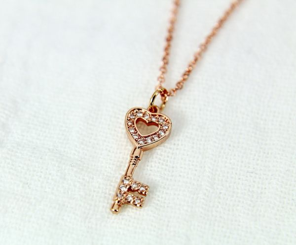 Rose Gold Heart Key Necklace, CZ Diamond Jewelry, Dainty Delicate Necklace, Personalized Gift