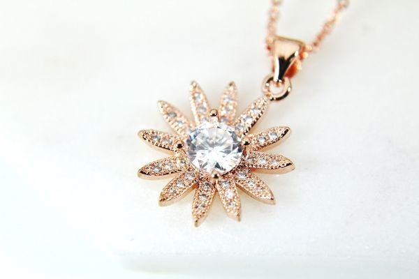 Rose Gold Sunflower Necklace, CZ Diamond Jewelry, Dainty Delicate Necklace, Personalized Gift