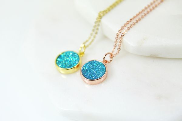 Rose Gold Druzy Necklace, Druzy Jewelry, Dainty Delicate Necklace, Personalized Gift