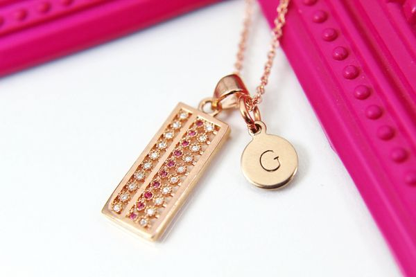 Rose Gold Abacus Necklace, CZ Diamond Jewelry, Dainty Delicate Necklace