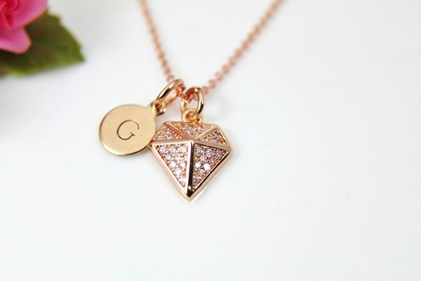Rose Gold Diamond Necklace, CZ Diamond Jewelry, Dainty Delicate Necklace