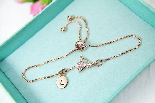 Rose Gold Ballerina Bracelet, CZ Diamond Jewelry, Dainty Delicate Bracelet