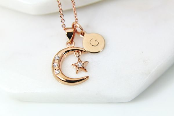Rose Gold Moon Star Necklace, CZ Diamond Jewelry, Dainty Delicate Necklace