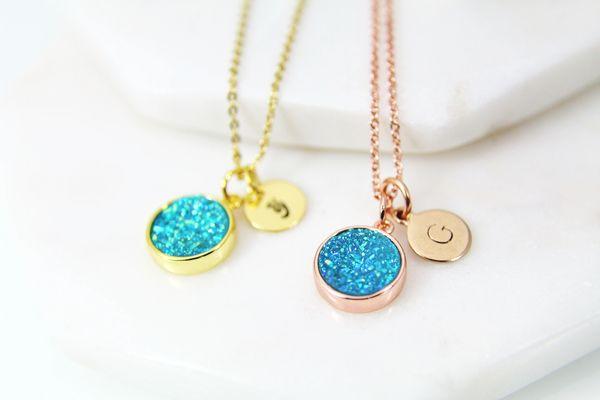 Rose Gold Druzy Necklace, Druzy Jewelry, Dainty Delicate Necklace