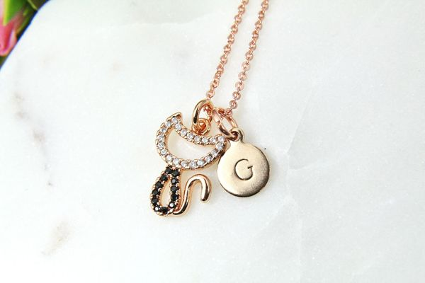 Rose Gold Cat Necklace, Cat Jewelry, Dainty Delicate Necklace