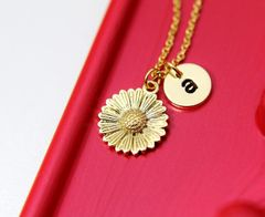 Gold Sunflower Necklace, Dainty Delicate Necklace