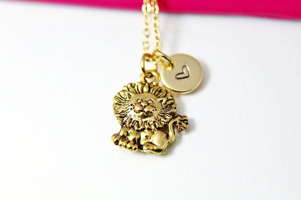 Gold Lion Necklace, Personalized Necklace