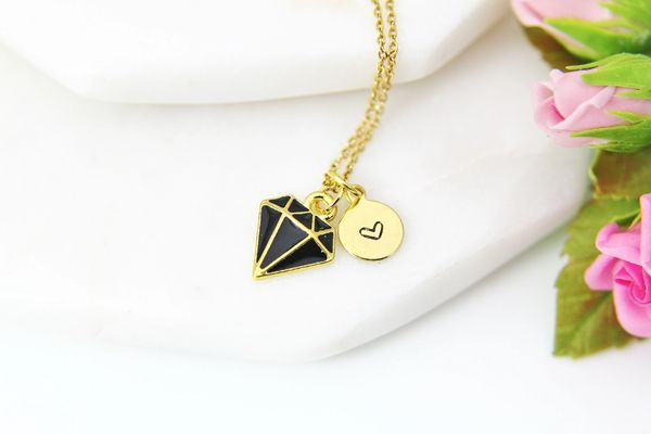 Gold Black Diamond Necklace, Personalized Gift