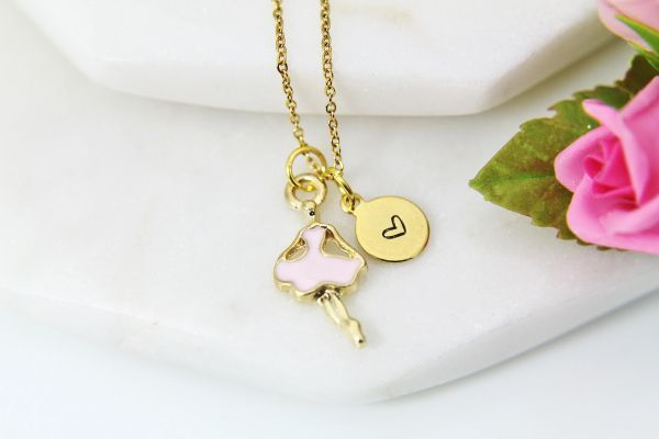 Gold Ballet Dance Necklace, Personalized Gift