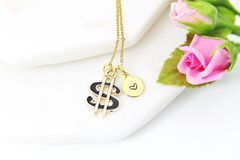 Gold Black Dollar Sign Necklace, Personalized Gift