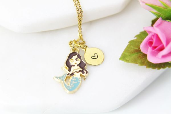 Gold Blue Mermaid Necklace, Personalized Gift