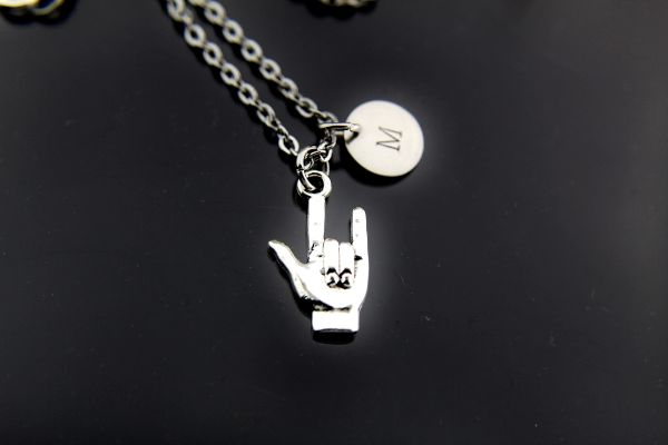 Personalized Hand I Love You Sign Language Charm Necklace