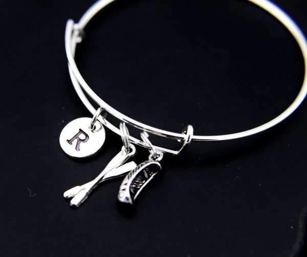 Oar Canoe Rowing Bangle, Silver Oar Canoe Rowing Charm Bracelet