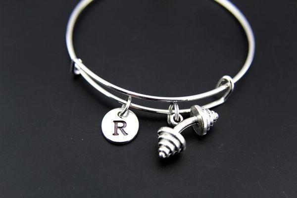 Dumbbell Bangle, Silver Dumbbell Charm Bracelet