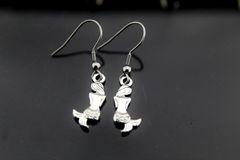 Mermaid Earrings, Silver Mermaid Charm Dangle Earrings