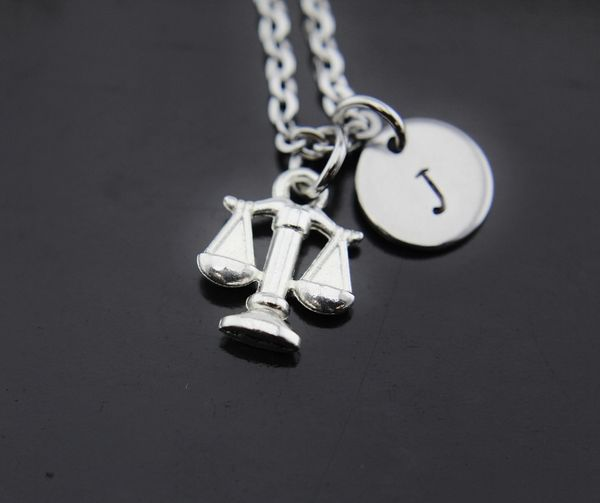 Libra Zodiac Necklace, Silver Libra Scale Charm Necklaces
