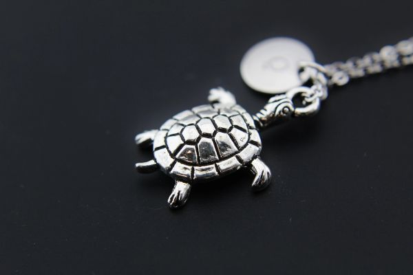Tortoise Necklace, Silver Turtle Charm Necklaces, Personalized Necklace
