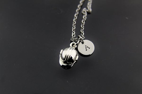 Baseball Necklace, Silver Baseball Helmet Charm Necklaces, Personalized Necklace