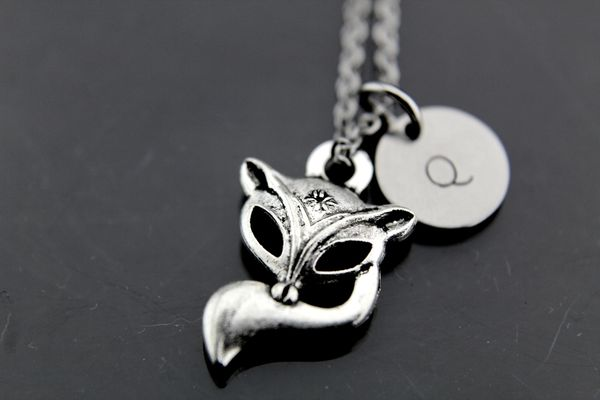 Fox Necklace, Silver Fox Charm Necklaces, Personalized Necklace, Initial Charm
