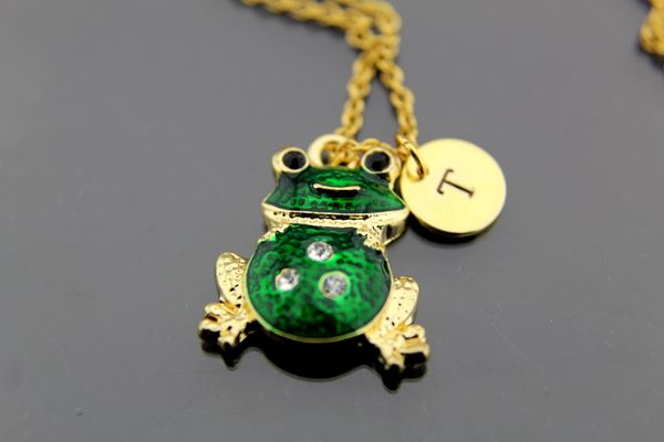 Frog Necklace, Gold Green Frog Charm Necklaces, Personalized Necklace