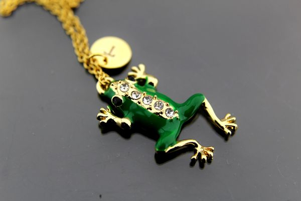 Frog Necklace, Gold Frog Charm Necklaces, Personalized Necklace