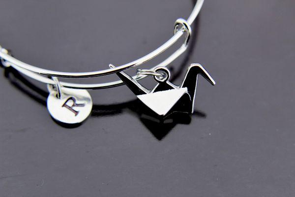 Origami Crane Bangle, Silver Origami Crane Charm Bracelet, Expandable Bracelet Bangles