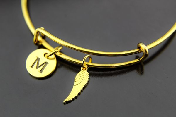 Angel Wing Bangle, Gold Angel Wing Charm Bracelet, Expandable Bracelet Bangles