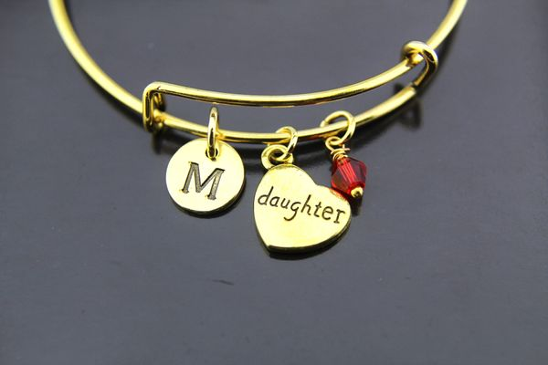 Daughter Gift Gold Daughter Heart Charm Bracelet Personalized Bracelet Bangles