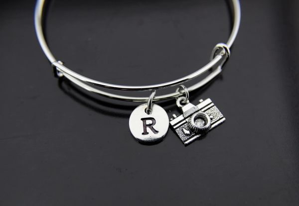 Camera Bangle Silver Camera Charm Bracelet Photographer Gift