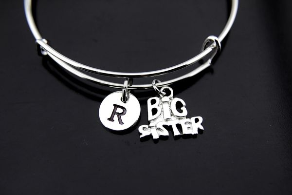 Big Sister Bangle, Silver Big Sister Charm Bracelet, Expandable Bracelet Bangles