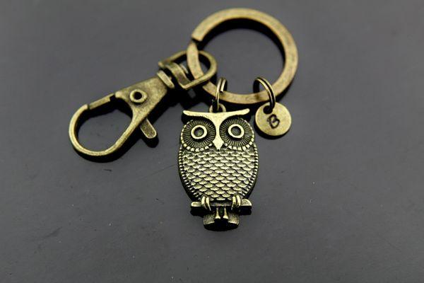 Owl Keychain, Bronze Owl Charm Keychain, Personalized Keychain