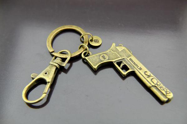 Gun Keychain, Bronze Handgun Charm Keychain, Personalized Keychain