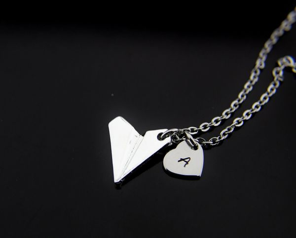 Origami Airplane Necklace, Silver Paper Plane Charm Necklace