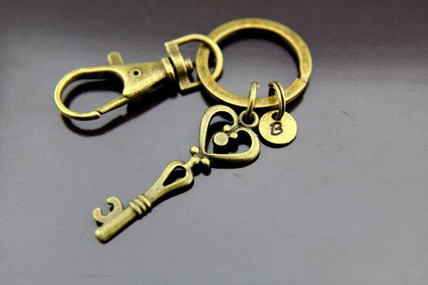 Key Keychain, Bronze Key Charm Keychain, Personalized Keychain