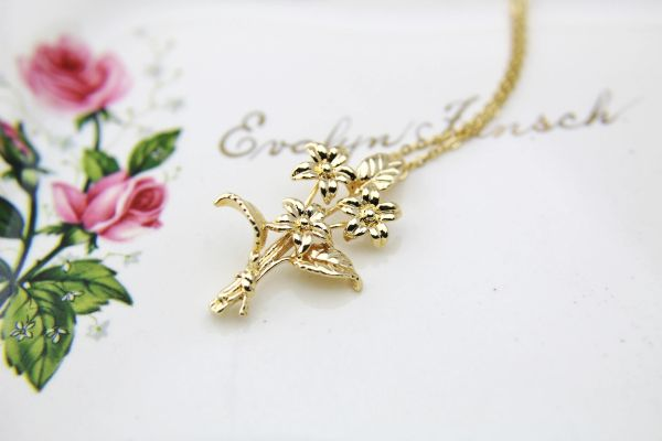 Flower Necklace Gold Necklace Personalized Necklace