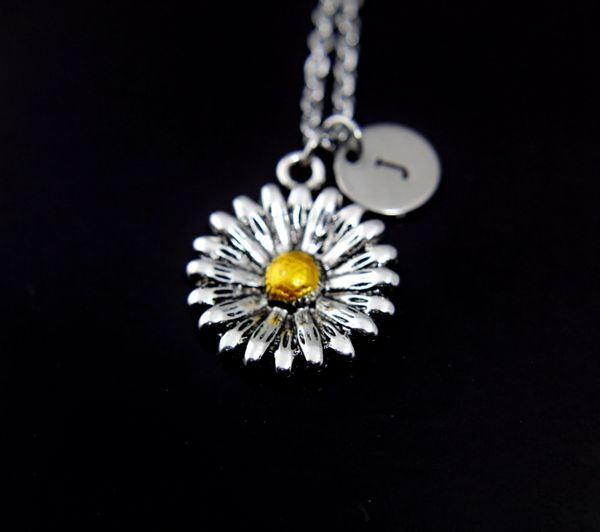 Daisy Necklace Silver Daisy Flower Charm Personalized Initial Necklace