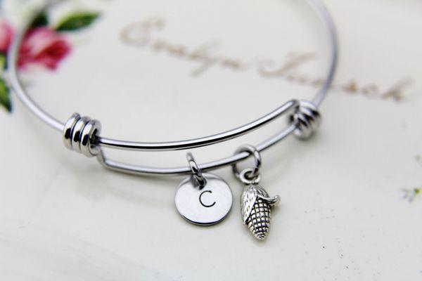 Corn Bracelet Silver Corn Charm Personalized Bangle