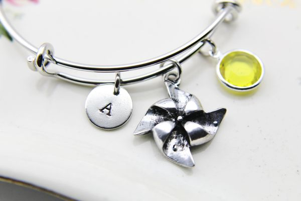 Windmill Charm Bracelet Personalized Bangle