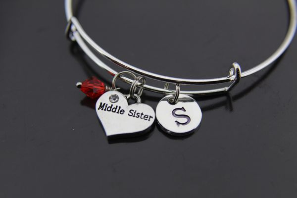 Middle Sister Bracelet Sister Charm Bracelet Personalized Bangle
