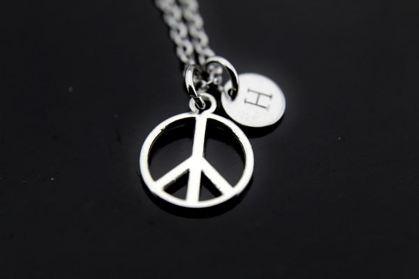 Peace Necklace Silver Peace Charm Personalized Initial Necklace