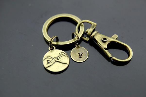 Bronze Pinky Promise Charm Keychain