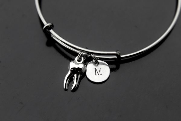 Dentist Bangle Silver Tooth Charm Bracelet