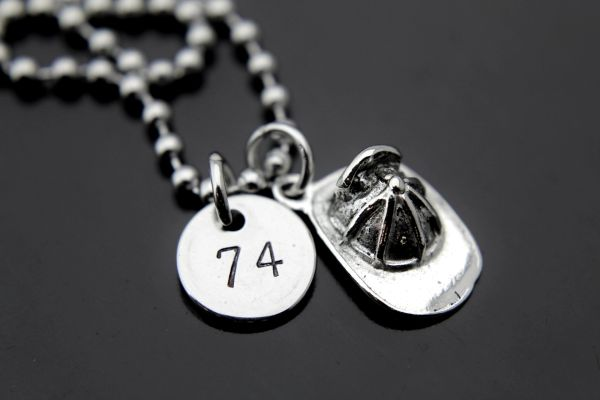Silver Firefighter Helmet Charm Necklace