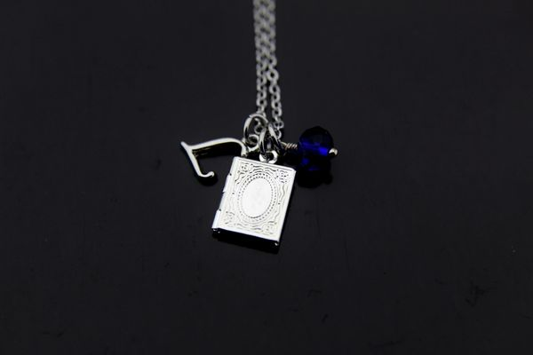 Bookworm Gift Silver Book Locket Charm Necklace