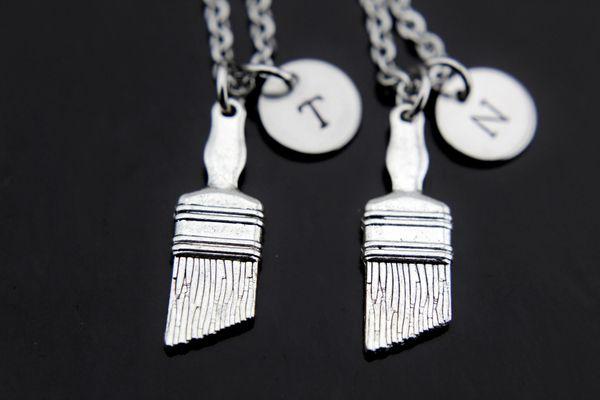 2 Best Friends Necklace Paintbrush Charm Necklace