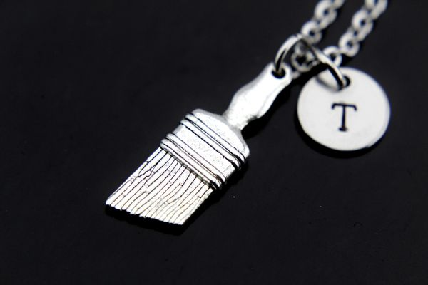 Silver Paintbrush Charm Necklace Personalized Necklaces