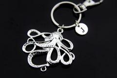 Silver Octopus Charm Keychain Personalized Keychain