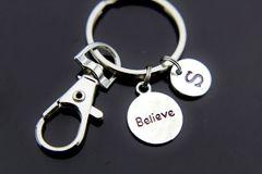 Silver Believe Inspire Charm Keychain
