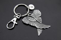Silver Guardian Angel Wing Charm Keychain